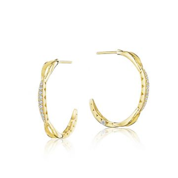 Tacori 18k Yellow Gold The Ivy Lane Diamond Hoop Earring