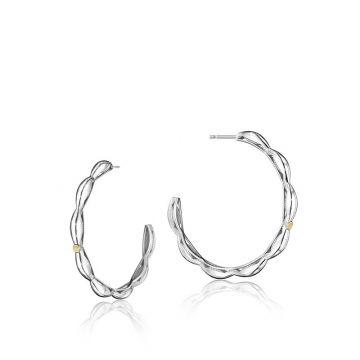 Tacori Silver Crescent Contour Hoop Earrings