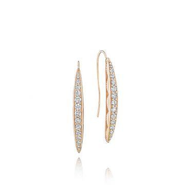 Tacori 18k Rose Gold Pave Surfboard Drop Earrings