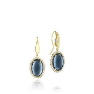Tacori 18k Yellow Gold Pave Stone Drop Earrings