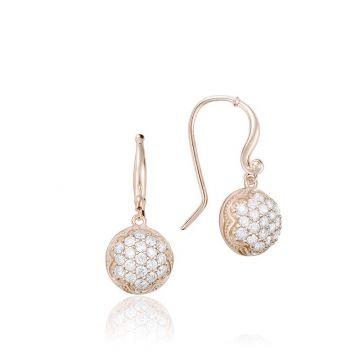 Tacori 18k Rose Gold Dew Diamond Drop Earrings