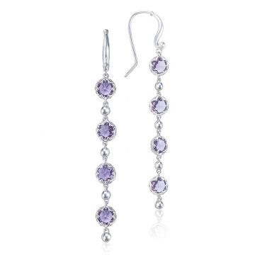 Tacori Silver Rain Drop Earrings featuring Amethyst