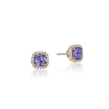 Tacori Sterling Silver & 18k Rose Gold Crescent Crown Earrings