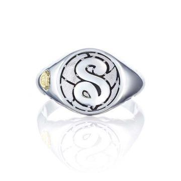 Tacori Silver Monogram Ring