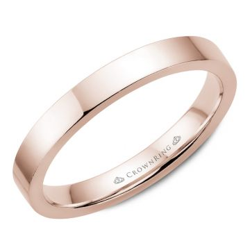 CrownRing 14k Rose Gold Traditional 3mm Wedding band