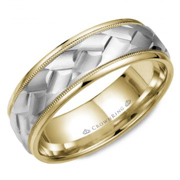 CrownRing 14k Two Tone Gold Carved 7mm Wedding Band