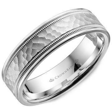 CrownRing 14k White Gold Carved 6mm Wedding Band