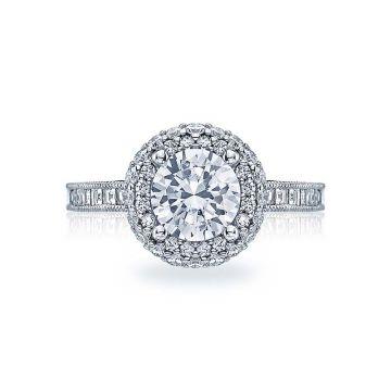 Tacori Platinum Blooming Beauties Double Halo Engagement Ring