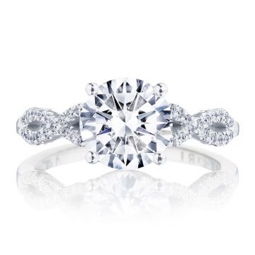 Tacori 14k White Gold Coastal Crescent Straight Diamond Engagement Ring
