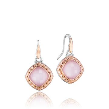 Tacori Sterling Silver and 18k Gold Pink MOP Drop Earrings