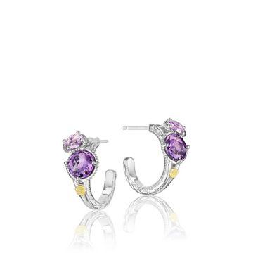 Tacori Sterling Silver Double Amethyst Hoop Earrings