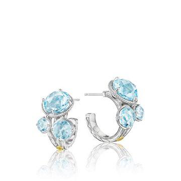 Tacori Sterling Silver Blue Topaz Cluster Hoop Earrings