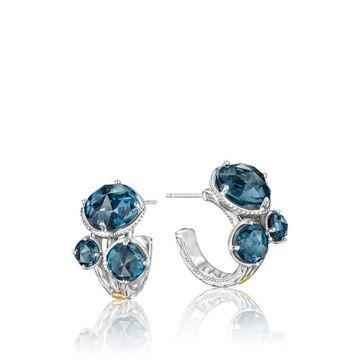 Tacori Sterling Silver Bold Blue Topaz Cluster Hoop Earrings