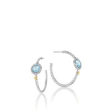 Tacori Sterling Silver Simply Sky Blue Topaz Hoop Earrings