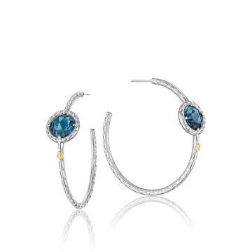 Tacori Sterling Silver Bold Simply Blue Topaz Hoop Earrings