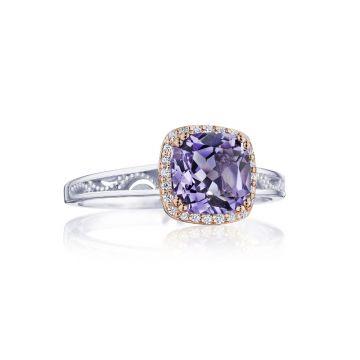 Tacori Cushion Bloom Gemstone Ring with Diamonds and Amethyst