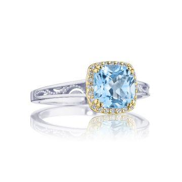 Tacori Cushion Bloom Gemstone Ring with Diamonds and Sky Blue Topaz