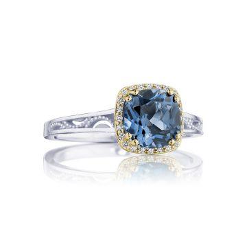 Tacori Cushion Bloom Gemstone Ring with Diamonds and London Blue Topaz