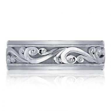 Tacori Platinum Decorative Carved Men's Wedding Band