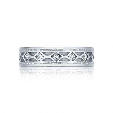 Tacori Platinum Sculpted Crescent Diamond Wedding Band