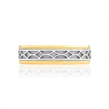 Tacori Two Tone 18k Gold Sculpted Crescent Wedding Band