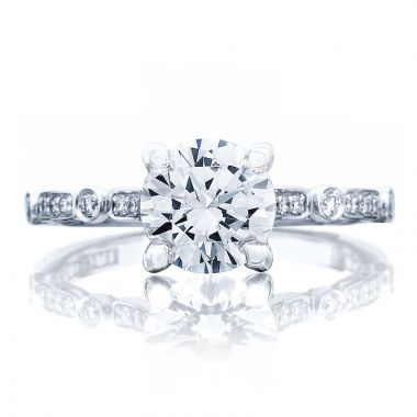 Tacori 18k White Gold Sculpted Crescent Straight Diamond Engagement Ring