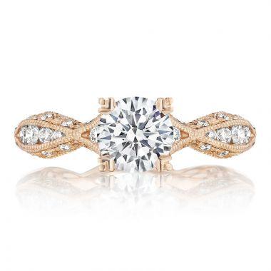 Tacori 18k Rose Gold Classic Crescent Straight Diamond Engagement Ring