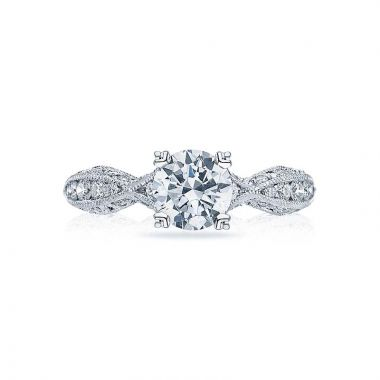 Tacori Platinum Classic Crescent Criss Cross Engagement Ring