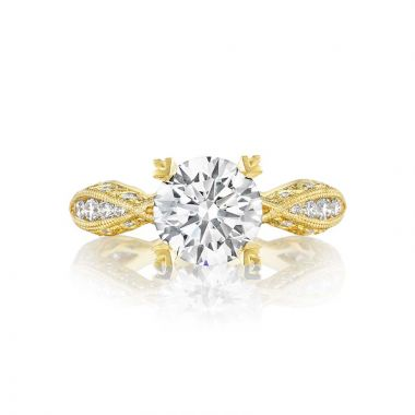 Tacori 18k Yellow Gold Clean Crescent Criss Cross Engagement Ring