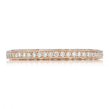 Tacori 18k Rose Gold Classic Crescent Eternity Diamond Women's Wedding Band