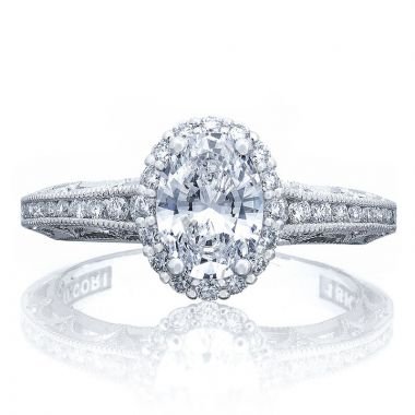 Tacori 18k White Gold Reverse Crescent Halo Diamond Engagement Ring