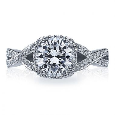 Tacori 18k White Gold Dantela Criss Cross Diamond Engagement Ring