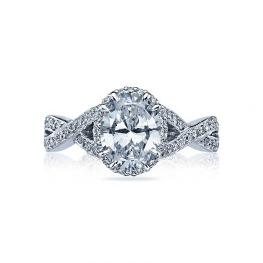 Tacori Dantela Platinum Halo Engagement Ring 2627ovlg