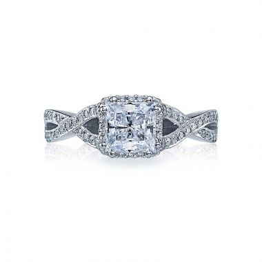 Tacori Dantela Platinum Halo Engagement Ring 2627prmd