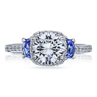 Tacori 18k White Gold Dantela Diamond & Gemstone 3 Stone Hao Engagement Ring