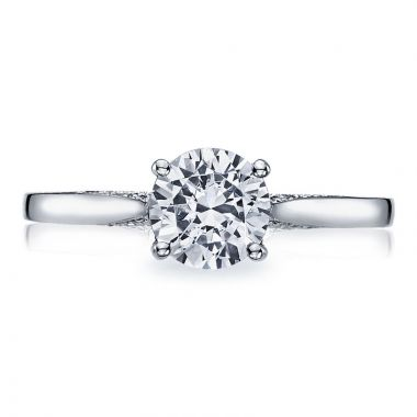 Tacori 18k White Gold Dantela Solitaire Diamond Engagement Ring