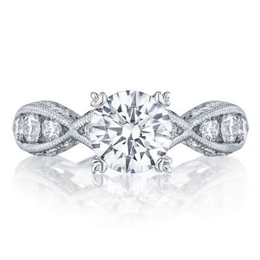 Tacori 18k White Gold Classic Crescent Criss Cross Diamond Engagement Ring