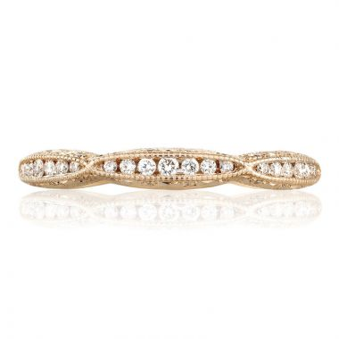 Tacori 18k Rose Gold Classic Crescent Anniversary Diamond Women's Wedding Band