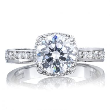 Tacori 18k White Gold Dantela Straight Diamond Engagement Ring