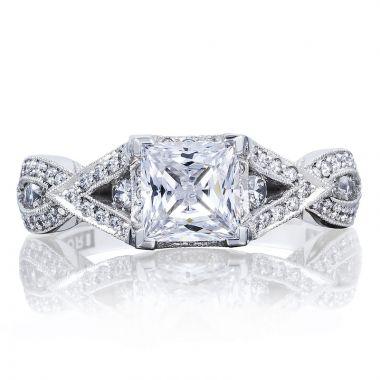 Tacori 18k White Gold Ribbon Criss Cross Diamond Engagement Ring