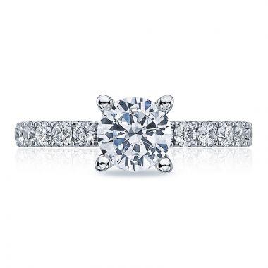 Tacori 18k White Gold Clean Crescent Straight Diamond Engagement Ring
