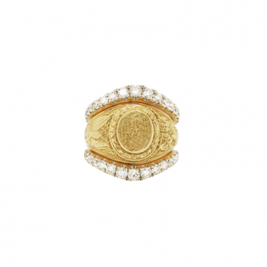 14k Yellow Gold Petite Graduate Diamond Ring Guard