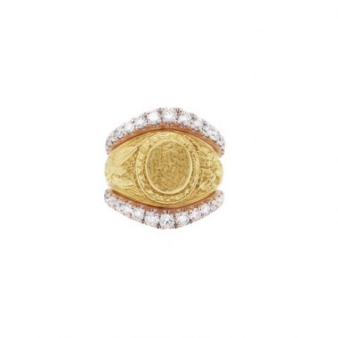 14k Rose Gold Petite Graduate Diamond Ring Guard