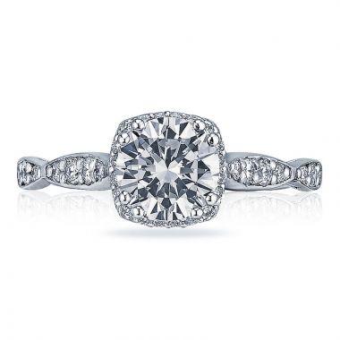 Tacori 18k White Gold Dantela 3 Stone Halo Engagement Ring