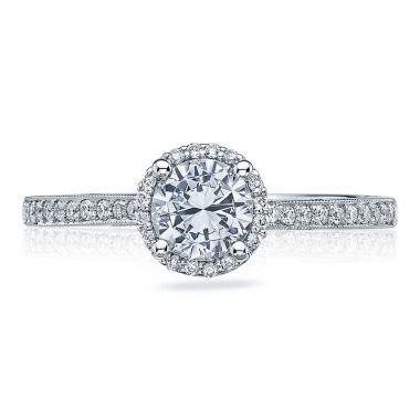 Tacori Platinum Sculpted Crescent Halo Diamond Engagement Ring
