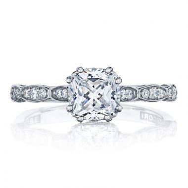 Tacori Platinum Sculpted Crescent Straight Diamond Engagement Ring