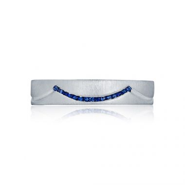 Tacori Platinum .10ct Diamond .12 Sapphire Wedding Band