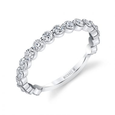 Michael M 18k White Gold Diamond Wedding Band