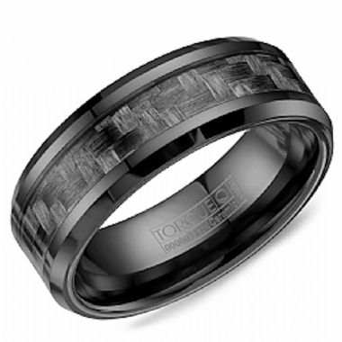 Crown Ring Black Ceramic Classic Wedding Band