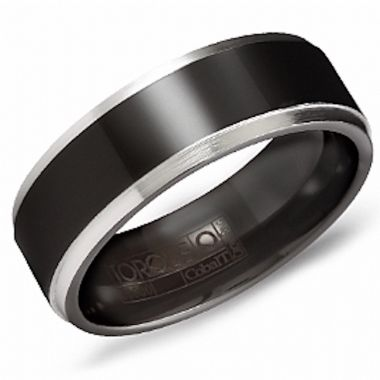 Crown Ring Black Cobalt Classic Wedding Band